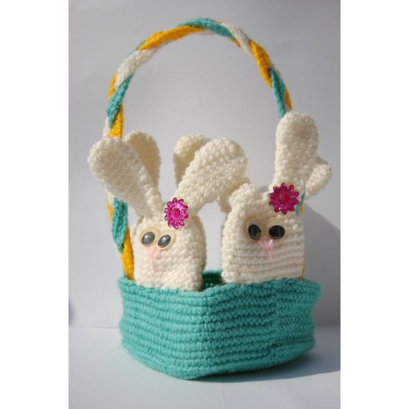 Cestino con coniglietti uncinetto
